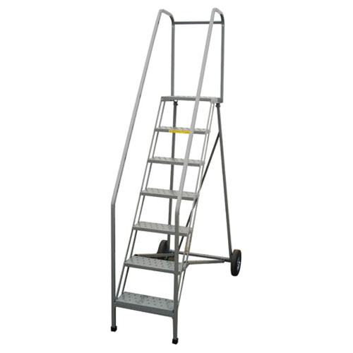 Pw Platforms Rolling Folding Ladder 9 Step 18 W 14 D Serrated Isc Sales