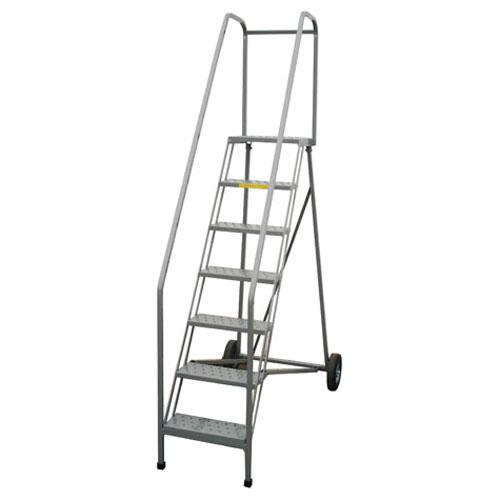 Magnificent 5 Step Rolling Folding Ladder 50H X 18W X 14D Platform Perf Machost Co Dining Chair Design Ideas Machostcouk